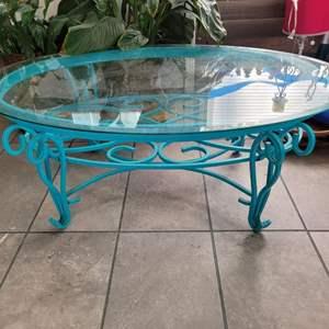 "Lot # 182 Glass Top Table w/ Metal Base 45"" Diameter"
