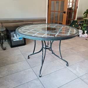 Lot # 183 Glass Top Patio Table w/ Umbrella Hole