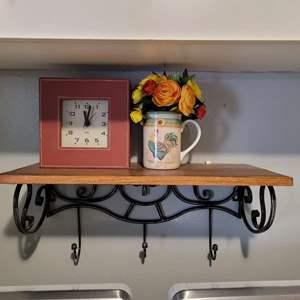 Lot # 188 Cute Shelf, Clock & Faux Flower Bouquet