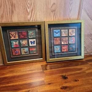 Lot # 190 (2) Framed Butterfly Tile Art