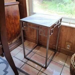 """Lot # 194 Metal Table w/ Granite Top 13.5"""" Square"""