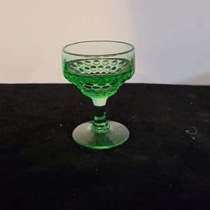Lot # 200 Beautiful Antique Green Dot Glass