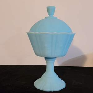 Lot # 210 Fenton Blue Pedestal Candy Dish