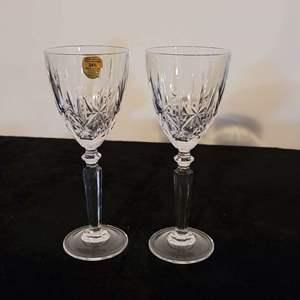 Lot # 212 (2) Italian Lead Crystal Wine Glassss