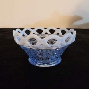 Lot # 221 Antique Blue Depression Glass Dish