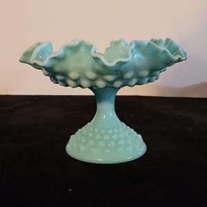 Lot # 223 Teal Hobnail Pedestal Dish