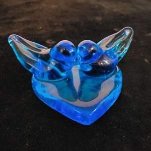 Lot # 227 Cobalt Blue Blown Glass Love Birds