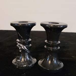 Lot # 235 Nice Set of 2 Marble Candle Holders