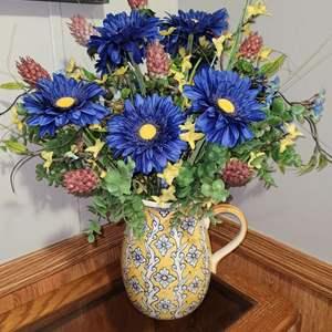 Lot # 239 Beautiful Pitcher Vase w/ Faux Flowers