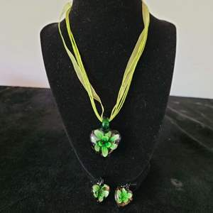 Lot # 250 Blown Glass Necklace w/ Matching Earrings