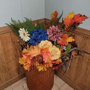 Lot # 281 Autumn Mix of Faux Flowers w/ Basket