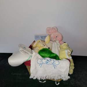 Lot # 295 Baby Toys in Basket w/ Bowl & Spoon