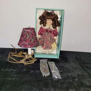 Lot # 297 Lamp for Child's Room, Spoons (2) & Doll