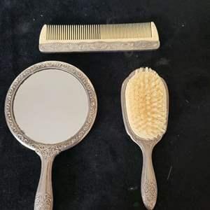 Lot # 302 Antique Mirror, Brush & Comb