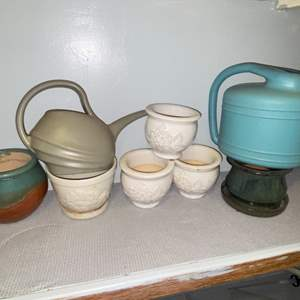 Lot # 316 Pretty Assortment of Ceramic Planters & Watering Cans (2)