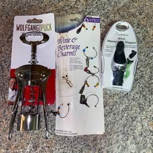 Lot # 329 Wolfgang Puck Corkscrew, Wine Pourer and Wine Glass Charms