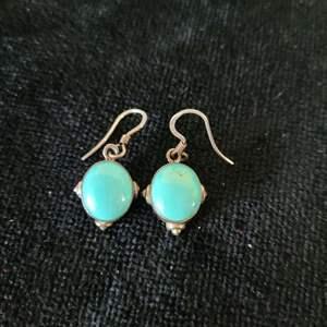 Lot # 360 Turquoise Earrings w/ Sterling Silver Wrap