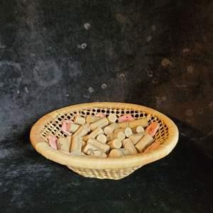 Lot # 385 Wicker Basket w/ Wine Corks - BOTH NEW