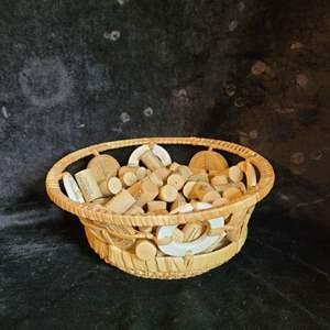 Lot # 386 Wicker Basket w/ Wine Corks - BOTH NEW