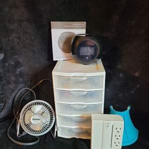 Lot # 387 Desk Fan, Table Top Storage Bin, Clock & More