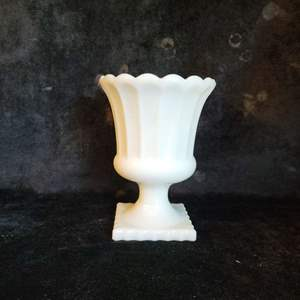 Lot # 395 Milk Glass Pedestal Vase