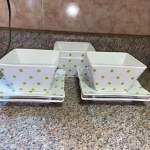 Lot # 400 Set of 4 222 Fifth DOTTY Square Rice Bowls & Saucers - Nice Condition