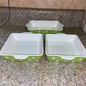 Lot # 402 Set of 3 Signature Polka Dot Baking / Casserole Dishes