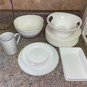 Lot # 405 Assortment of White Dinner and Serveware