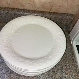 Lot # 411 Set of 9 Embossed White Dinner Plates