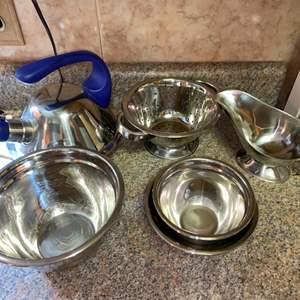 Lot # 422 Mixing Bowls, Tea Pot & More