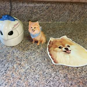 Lot # 433 Dog Figurine, Cat Soap Holder & Dog Magnet