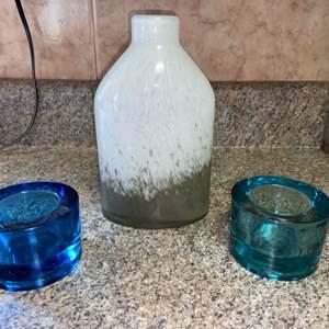 Lot # 436 Glass Votive Holders & Jug Vase