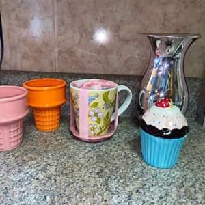 Lot # 460 Vase, Cone Planters & More