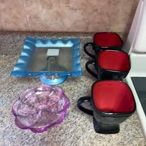Lot # 463 Coffee Mugs, Blue Dessert Platter & More