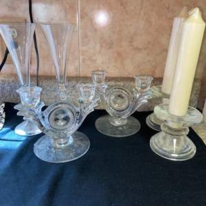 Lot # 479 Glass Candle Holders & Champagne Glasses