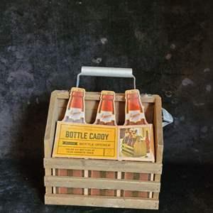 Lot # 509 Wood Bottle Caddy w/ Opener