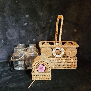 Lot # 511 Wicker Basket, Coasters & Flower Jars - ALL NEW