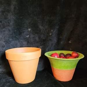 Lot # 515 (2) Terracotta Planters & Faux Apples