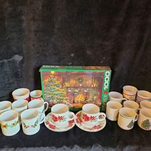 Lot # 533 Christmas Coffee Cups & NIB Puzzle