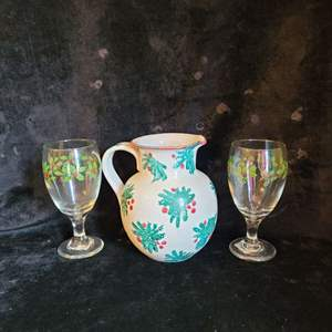 Lot # 537 Italian Made Pitcher & 2 Water Glasses