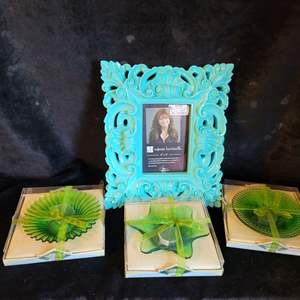 Lot # 547 (3) Candle Holders & Picture Frame-NIP
