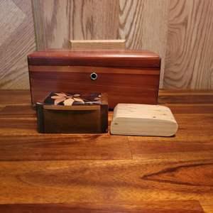 Lot # 560 Tabletop Lane Cedar Chest, Salt Maple Box & Hand Crafted Box
