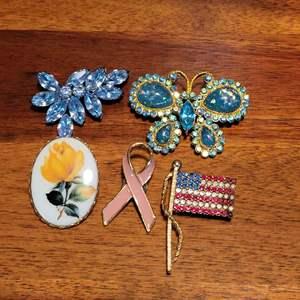 Lot # 566 (5) Vintage Pins