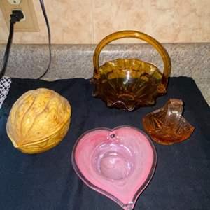 Lot # 588 Ceramic Walnut, Glass Heart & More