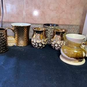 Lot # 600 Gold Toned Mugs & Cups