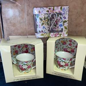 Lot # 602 Pretty Teacup & Saucer Gift Sets (3)