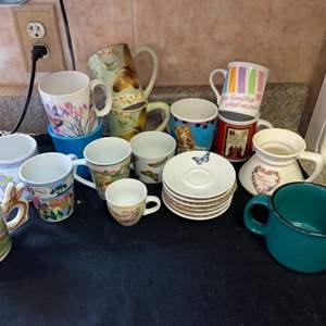 Lot # 605 Mugs & Saucers