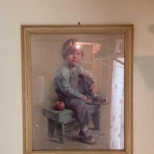 Lot # 673 Home Interior by Ingerson boy on the Bench with apple/