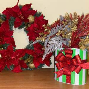 Lot # 697 Christmas Wreath & Floral Decor