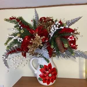 Lot # 698 Beautiful Christmas Floral Arrangement